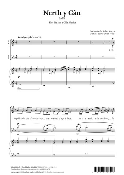 Nerth y Gân (satb) - Sheet Music - Sain Records - Music from Wales